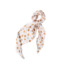 Load image into Gallery viewer, POLKA DOT FLORAL HAIR SCARF TIED AS BANDANA