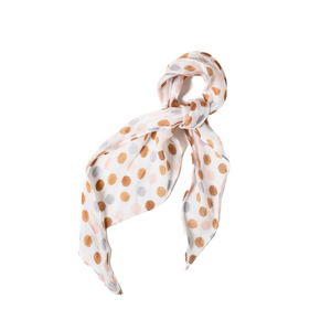 POLKA DOT FLORAL HAIR SCARF TIED AS BANDANA