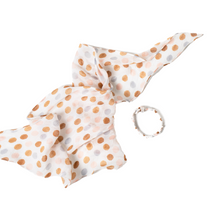 Load image into Gallery viewer, POLKA DOT FLORAL HAIR SCARF WITH SCRUNCHIE