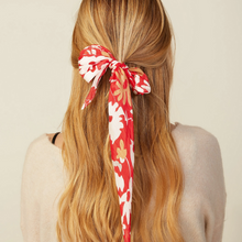 Load image into Gallery viewer, MODEL WEARING RED FLORAL HAIR SCARF