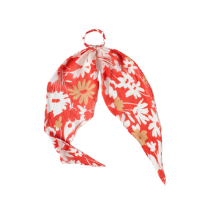 RED FLORAL HAIR SCARF