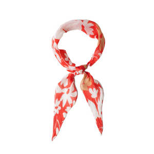 RED FLORAL HAIR SCARF TIED AS BANDANA
