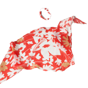 RED FLORAL HAIR SCARF WITH SCRUNCHIE