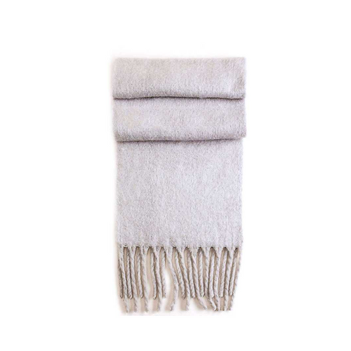 GRAY COZY SCARF WITH CHUNKY FRINGE FOLDED