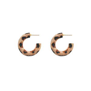 MANGO WOOD MINI HOOPS LEOPARD