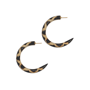 MANGO WOOD SMALL HOOPS | LEOPARD