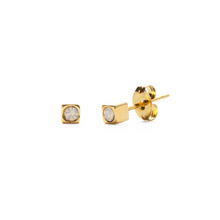 Load image into Gallery viewer, GOLD CUBE STUDS IN OPAL