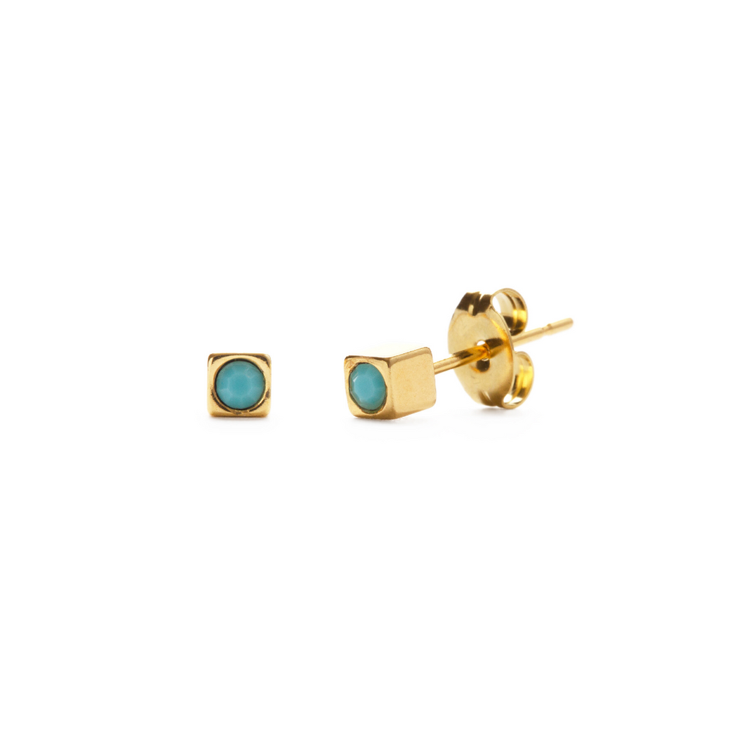 GOLD CUBE STUDS IN TURQUOISE