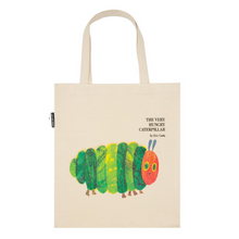Load image into Gallery viewer, FRONT OF VERY HUNGRY CATERPILLAR TOTE