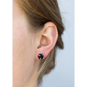 Woman wearing Peacock Druzy Earrings