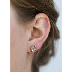 Woman wearing Rose Gold Druzy Earrings