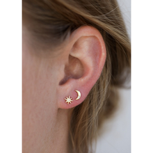 Load image into Gallery viewer, Woman wearing Sun and Moon Earrings