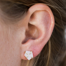 Load image into Gallery viewer, Woman wearing White Druzy Earrings