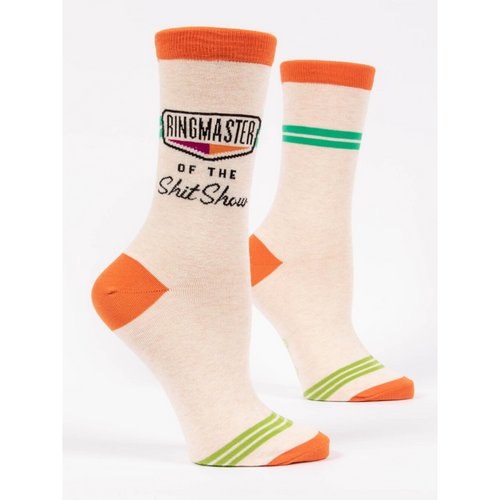 SIDE VIEW OF RINGMASTER OF THE SHIT SHOW CREW SOCKS