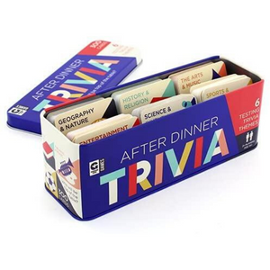 AFTER DINNER TRIVIA GAME TIN lid off