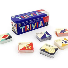 Load image into Gallery viewer, AFTER DINNER TRIVIA GAME TIN with cards out of tin