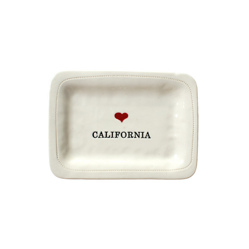 CALIFORNIA RED HEART PORCELAIN DISH