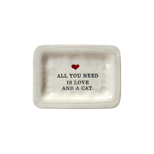 LOVE AND A CAT PORCELAIN DISH