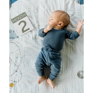 BABY ON PLANETARY BLANKET WITH MILESTONE CARD