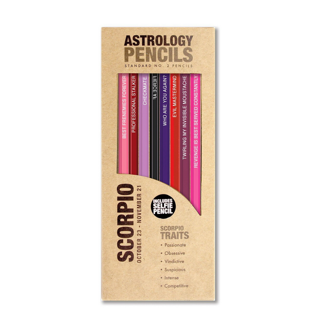 astrology pencils scorpio in box