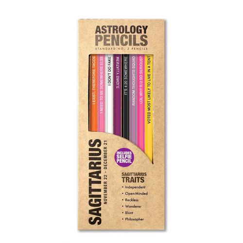 astrology pencils sagittarius in box