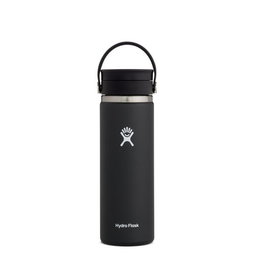 HYRDROFLASK 20 OZ WIDE MOUTH WITH FLEX LID IN BLACK