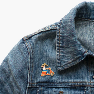 SCOOTER GIRL ENAMEL PIN ON DENIM JACKET