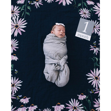 Load image into Gallery viewer, BABY IN SWADDLE ON DARK CONEFLOWER PHOTO BLANKET