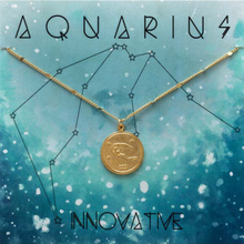 Load image into Gallery viewer, ZODIAC MEDALLION NECKLACE AQUARIUS