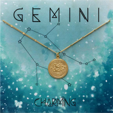 Load image into Gallery viewer, ZODIAC MEDALLION NECKLACE GEMINI