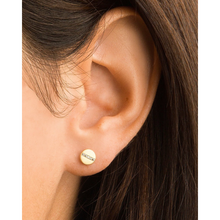 Load image into Gallery viewer, WOMAN WEARING CIRCLE POST WITH CZ EARRING