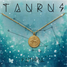 Load image into Gallery viewer, ZODIAC MEDALLION NECKLACE TAURUS