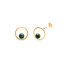 Load image into Gallery viewer, ORBIT STUDS MALACHITE