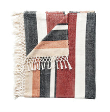 Load image into Gallery viewer, striped fringe throw