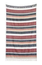 Load image into Gallery viewer, striped fringe throw full view unrolled