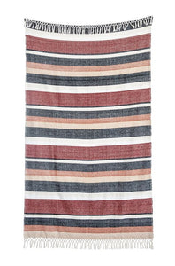 striped fringe throw full view unrolled