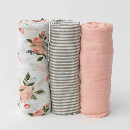 WATERCOLOR ROSE SWADDLE 3-PACK UNROLLED