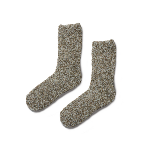 COZYCHIC MEN'S HEATHERED SOCKS | WARM GRAY/WHITE