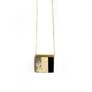 SMALL RECTANGLE WOOD & RESIN NECKLACE