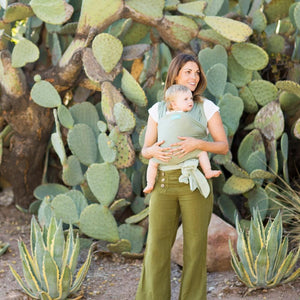 MOTHER WITH BABY IN MOBY CLASSIC WRAP IN PEAR