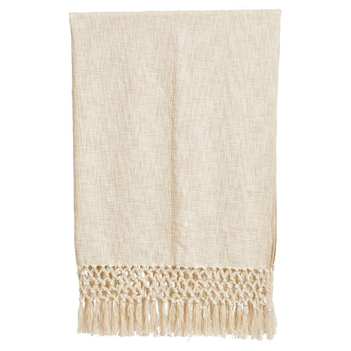 WOVEN THROW WITH FRINGE CREAM