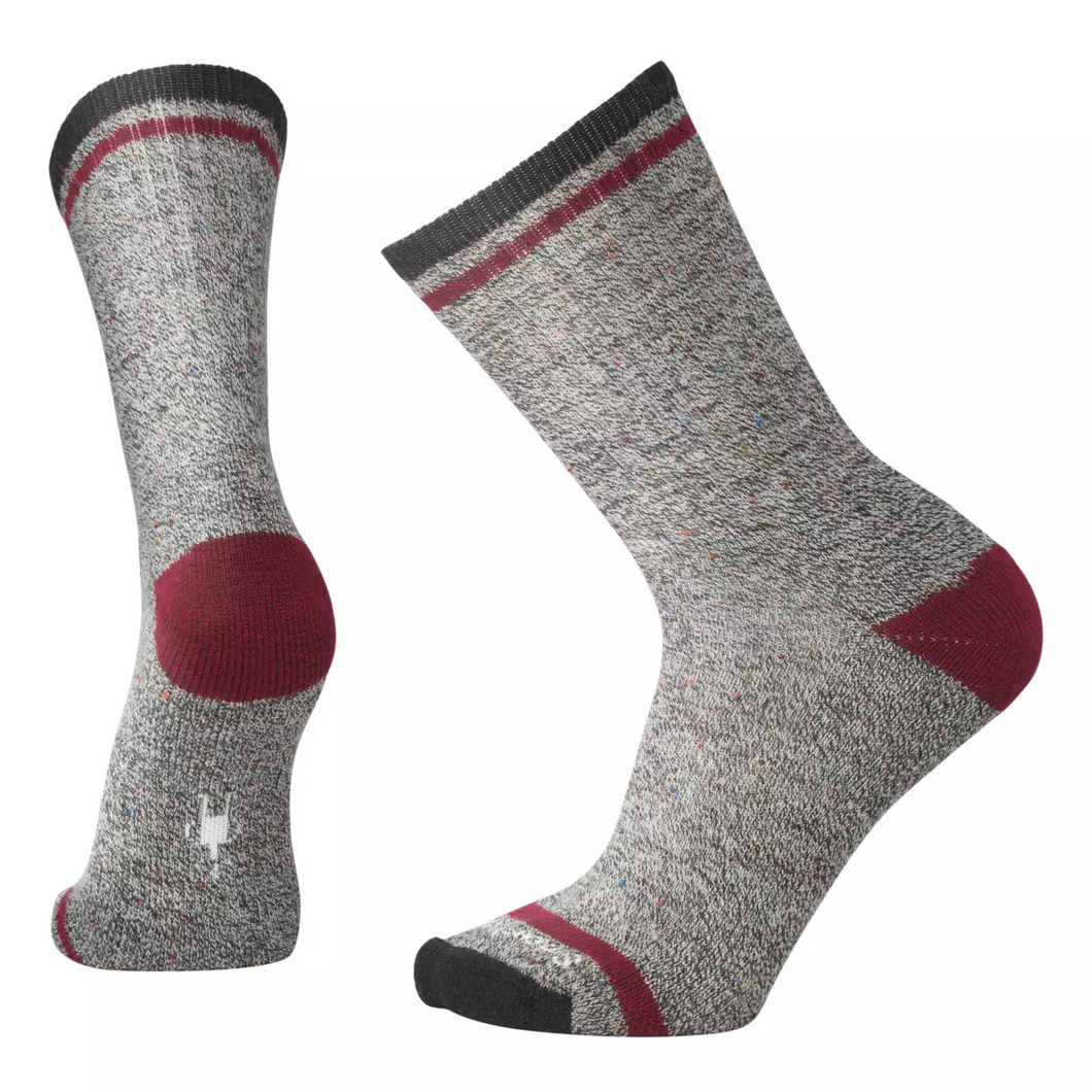 CHARCOAL & RED LARIMEIR CREW WOOL SOCKS
