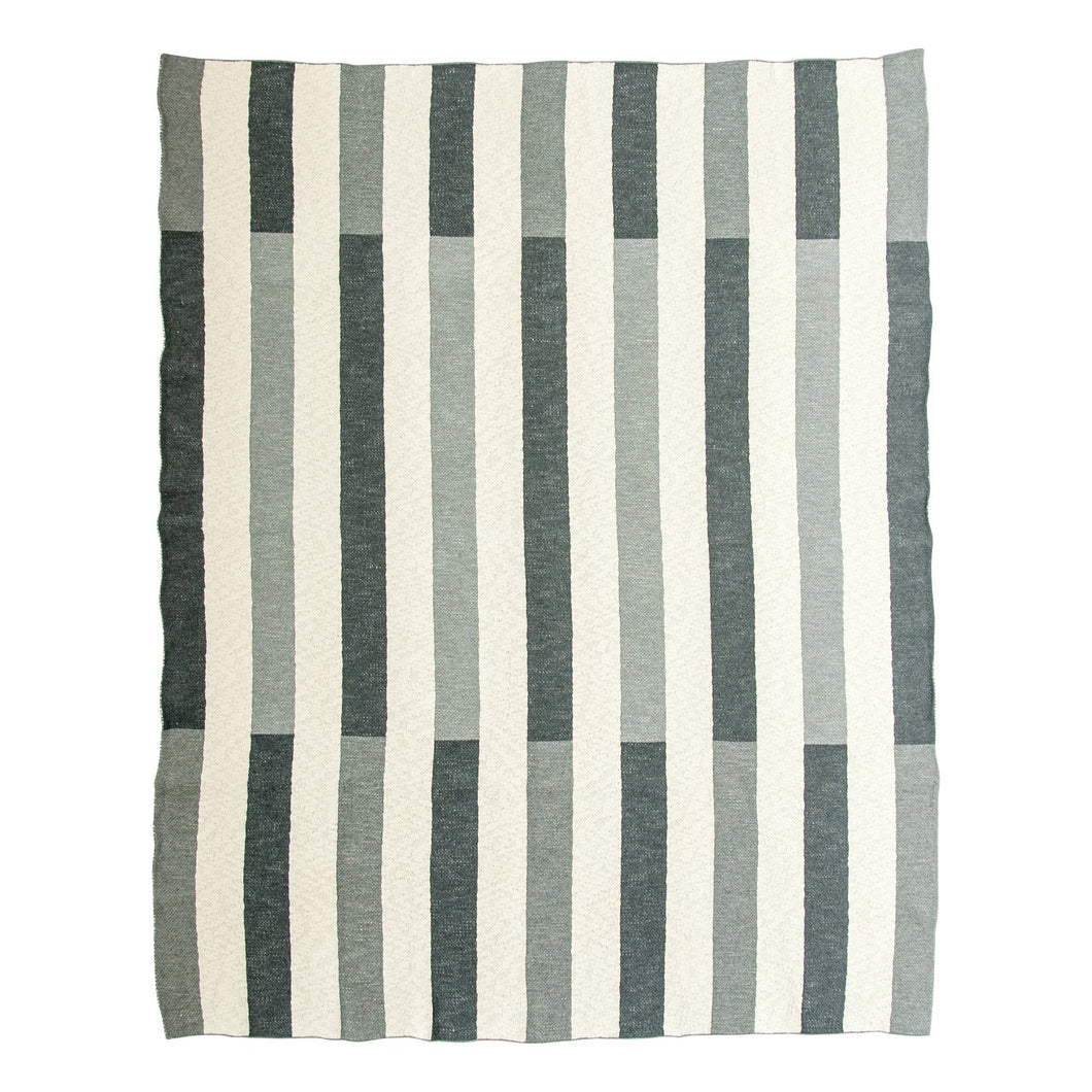gray striped throw full view