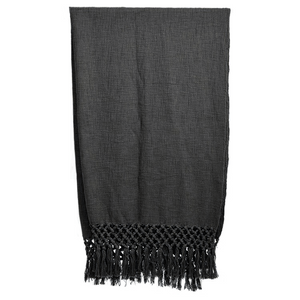 WOVEN THROW WITH FRINGE CHARCOAL