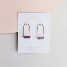 Load image into Gallery viewer, AMETHYST GEMSTONE DROP EARRINGS