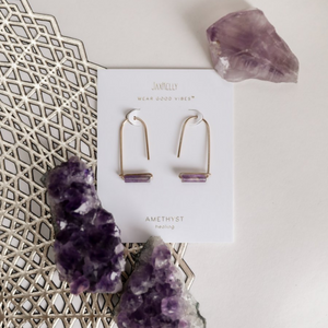 AMETHYST GEMSTONE DROP EARRINGS