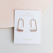 Load image into Gallery viewer, ROSE QUARTZ GEMSTONE DROP EARRINGS