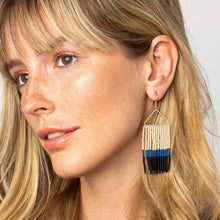 Load image into Gallery viewer, COMING SOON | NAVY LAPIS IVORY FRINGE EARRINGS