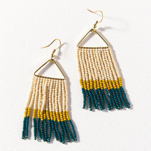COMING SOON | PEACOCK CITRON IVORY FRINGE EARRINGS