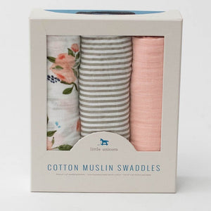 WATERCOLOR ROSE SWADDLE 3-PACK IN BOX